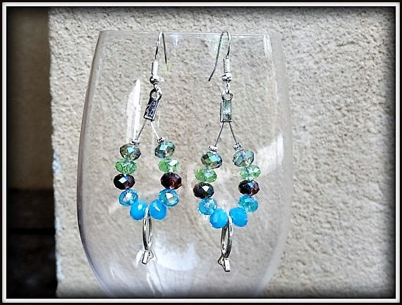 SALE Blue drop earrings, Multicolored Earrings, Teardrop Dangle Earrings, Turquoise Earrings, Blue Beach Earrings, Green chandelier earrings