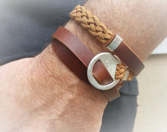 Mens Wrap Bracelet, Men Leather Bracelet, Leather Wrap Wristband, Chunky Wrap Bracelet,  Brown Leather Wristband, Adjustable Wrap Bracelet