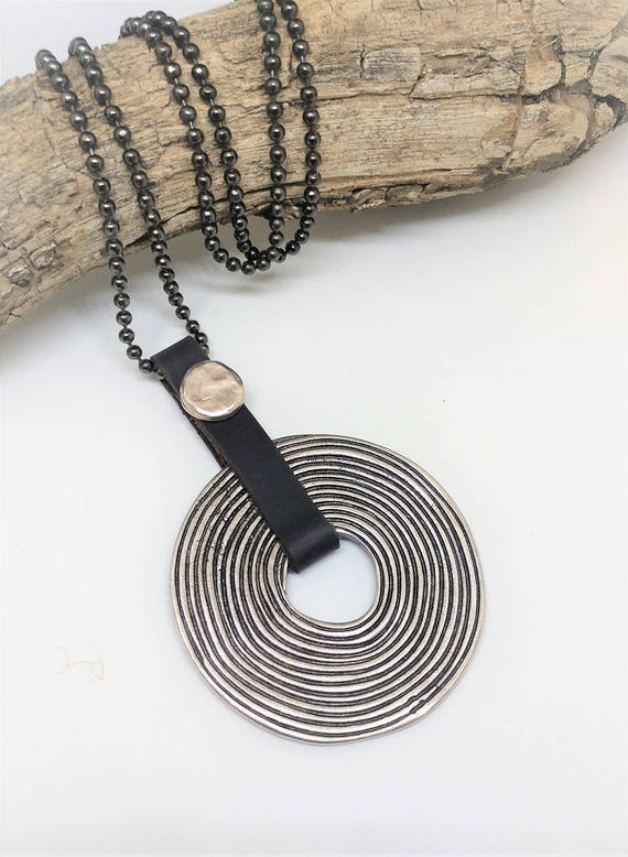 Big Spiral Necklace, Circle of Life Necklace, Tribal Jewelry, Big Pendant Necklace, Long Tribal Necklace, Women Leather Necklace