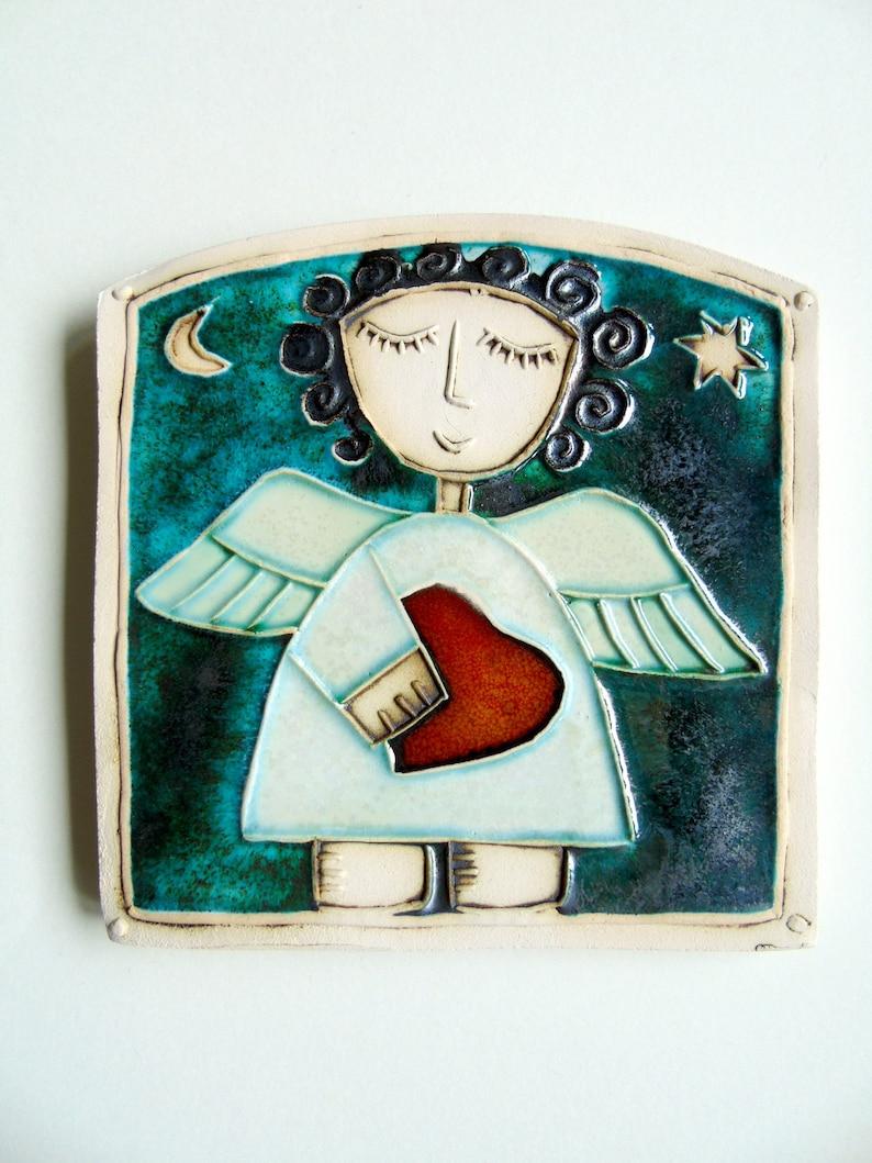 Angel with red hearth,Handmade Ceramic Art Tile,Wall Art,Home Decor,Christmas gift