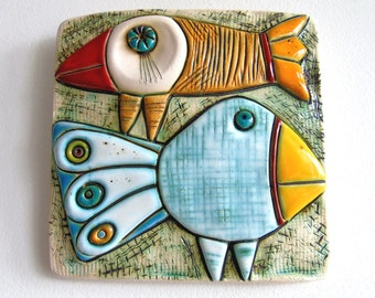 Handmade Ceramic Art Tile,Wall Art,Home Decor-Two birds