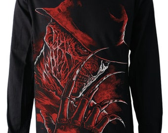 FREDDY KRUGER Long Sleeve T SHIRT Top Front And Back Print