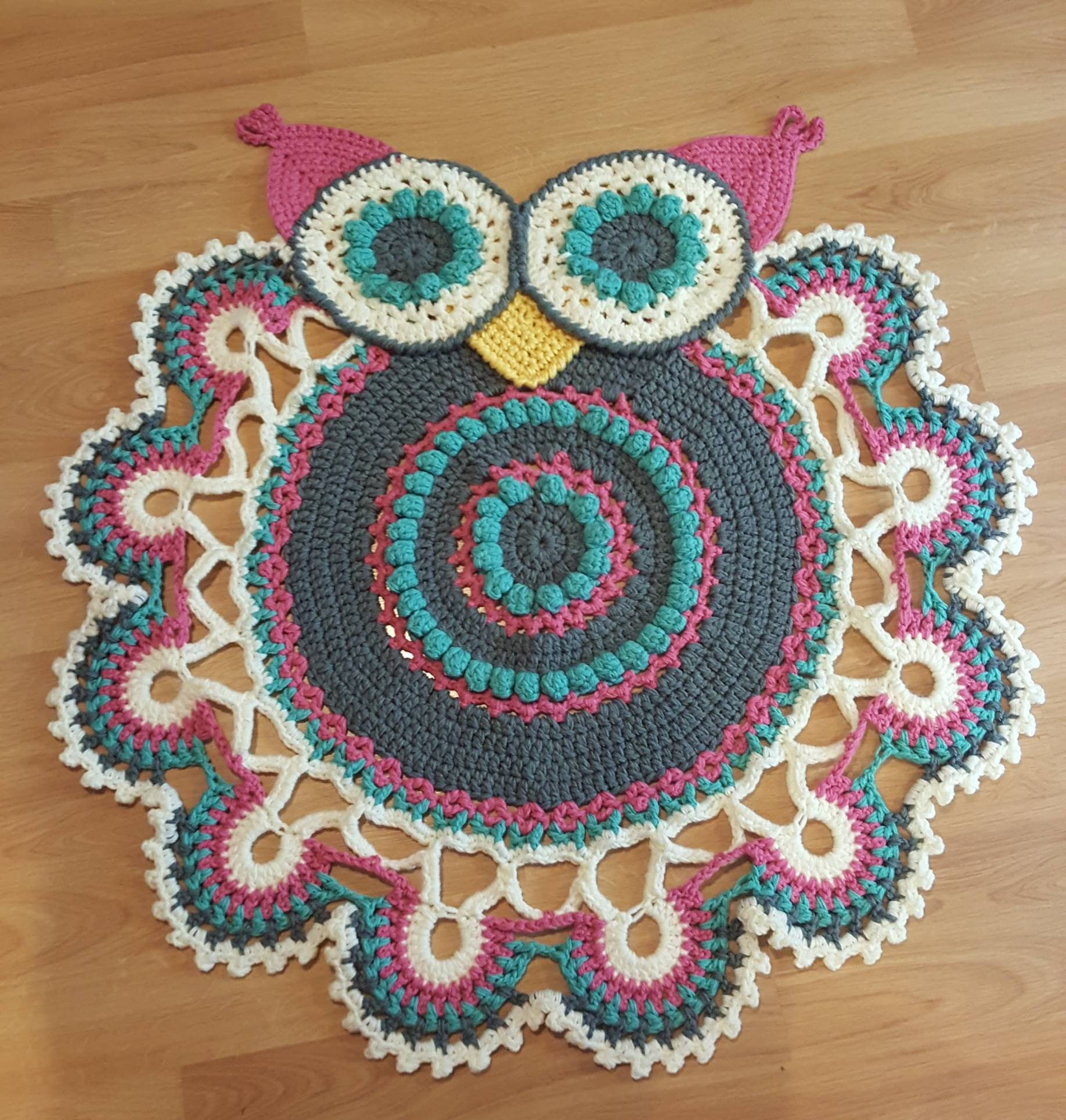 Crochet Owl Rug Pattern: Custom Handmade Crochet Owl Rug Baby Nursery Mat