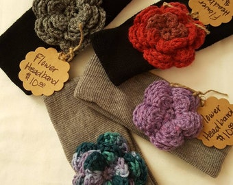 Headband with Handmade Crochet Flower