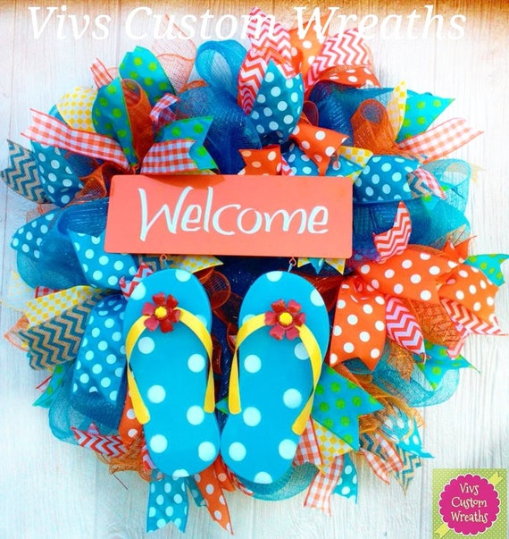 Flip Flop Wreath Summer Welcome Wreath Summer Flip Flop Etsy