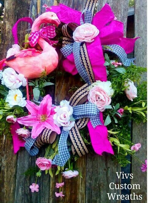 Flamingo Wreath Summer Wreath Mothers Day Gift Front Door Wreath