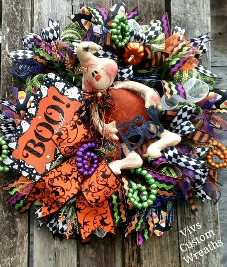 Ghost Wreath Halloween Decor Pumpkin Wreath Fall Wreath Halloween Wreath Boo Wreath Front Door Wreath Halloween Ghost Wreath
