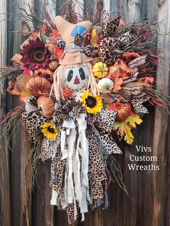 Fall Wreath Scarecrow Wreath Thanksgiving Wreath Autumn Wreath Rag Bow Wreath Xl Fall Wreath Front Door Wreath Scarecrow Decor