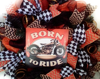 Motorcycle Wreath, Born to Ride Wreath, Christmas Gift for Dad,  Fathers Day Wreath, Motorcycle Wreath, Man Cave Gift