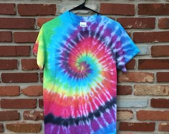 SOLD - Tie Dye Shirt - Short Sleeve - Rainbow Swirl - Small - Custom Orders/Sizes Available!