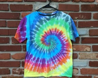 SOLD - Tie Dye Shirt - Short Sleeve - Rainbow Swirl - Childs Large - Custom Orders/Sizes Available!