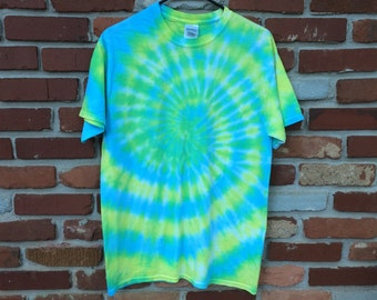 SOLD - Tie Dye Shirt - Short Sleeve - Blue, Yellow and Green Swirl - Medium - Custom Orders/Sizes Available!