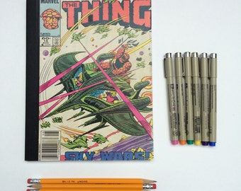 SOLD - Comic Book Composition - Creative Writing Journal/Notebook - Vintage The Thing (1984)