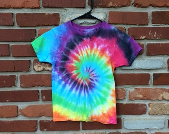 SOLD - Tie Dye Shirt - Short Sleeve - Rainbow Swirl - Childs Small - Custom Orders/Sizes Available!