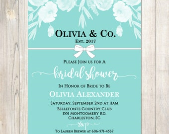 Tiffany's Bridal Shower Invitation - Tiffanys Floral Bridal Shower, Tiffany Bow, 3 Options