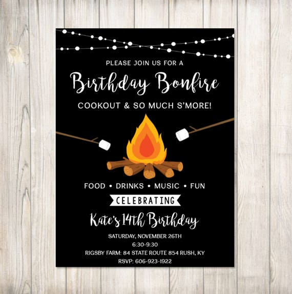 Birthday Bonfire Invitation Cookout & So Much S'more