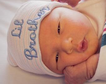 Newborn boy hat - little brother hat - baby hat boy - newborn hospital hat boy - baby hospital hat - personalized newborn hat - baby clothes