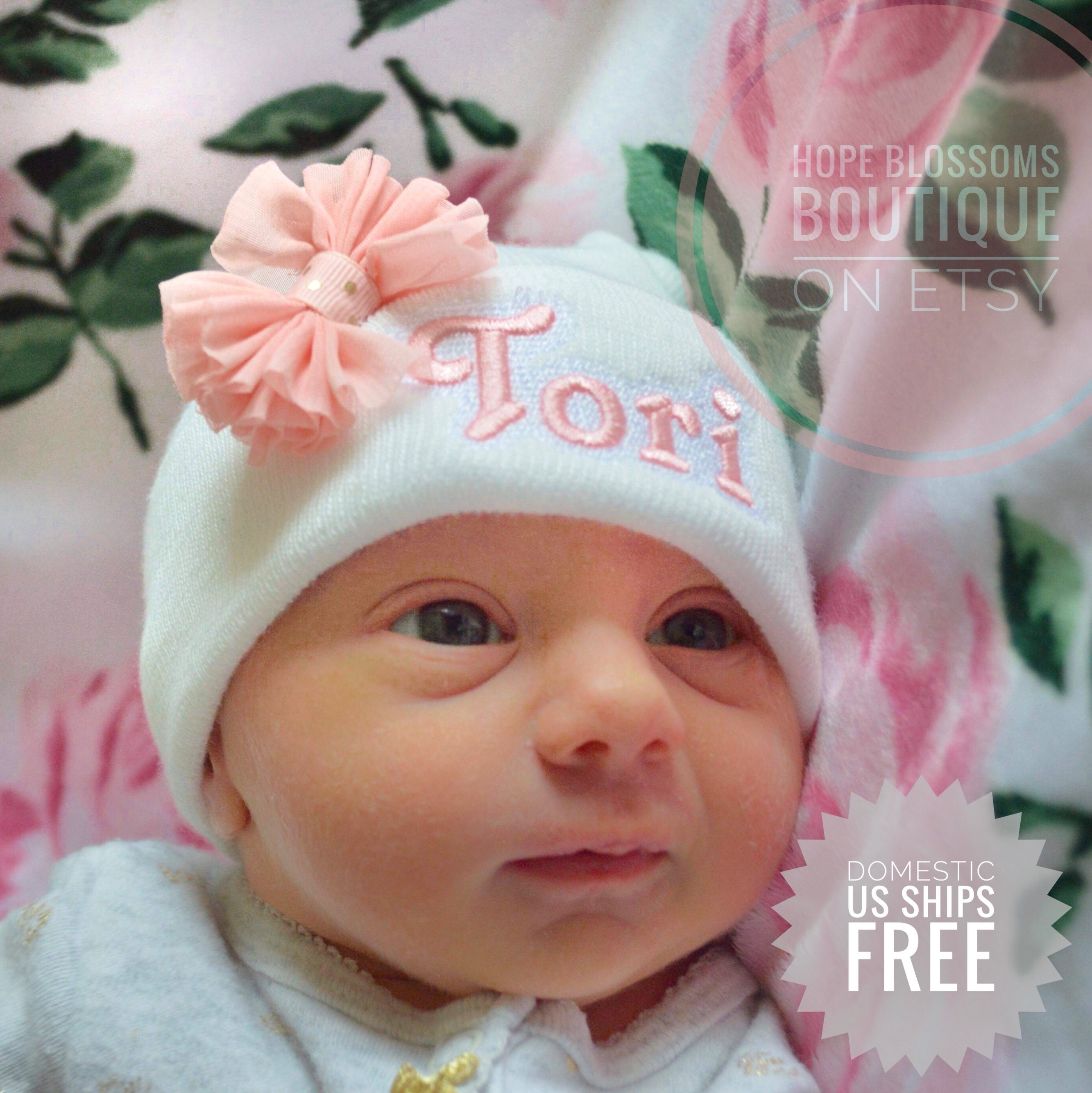 97eac826173 Baby girl hats for newborns Personalized baby hat newborn