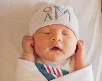 Newborn hat boy - monogram baby boy - baby boy hospital hat - personalized baby boy - baby boy coming home outfit hat - newborn beanie