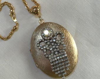 Upcycled Necklace with Large Locket and Vintage Brooch