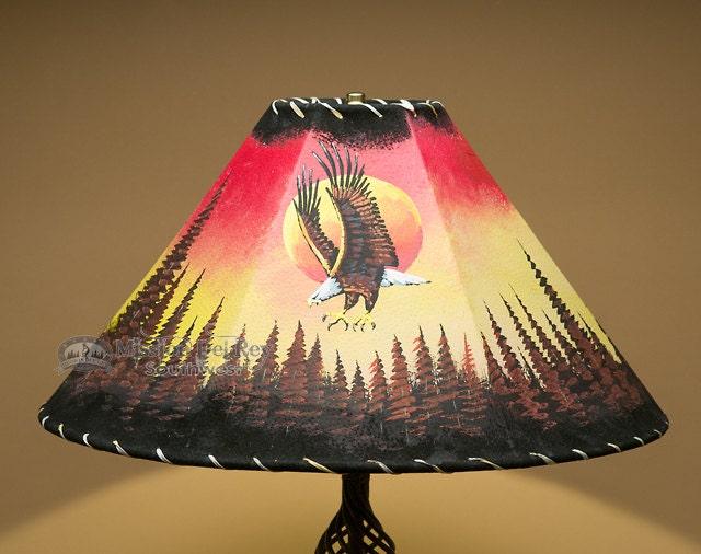"""Southwestern Lampshade 20"""" Leather -Sunset Eagle"""