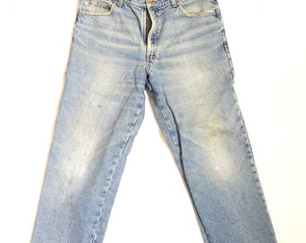 63e7bb7598c11 Distressed 90s Vintage Jeans -Vintage L.L. Bean Jeans / Double L Flannel  Lined Jeans / Vintage LL Bean Jeans Made in USA size 37x30