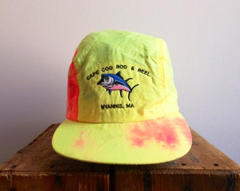 22ac4ebf58d 90s Neon Hat   90s Tie Dye   5 Panel Dad Hat Vintage Inside Out Tie Dye  Print   Vintage Cape Cod   Rods   Reels Fishing Sailing   Nautical C