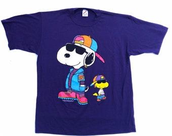 65700d7b5 Vintage Snoopy Shirt / 90s Hip Hop T Shirt / Peanuts Snoopy Woodstock T  Shirt / Vintage Jerzees 50 50 T Shirt size XL