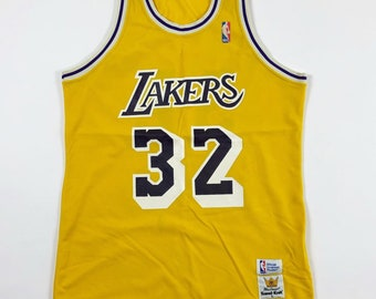 fb3a7ee7b10 Vintage Magic Johnson Lakers Sand Knit Jersey  80 s Sand Knit Jersey Los  Angeles Lakers