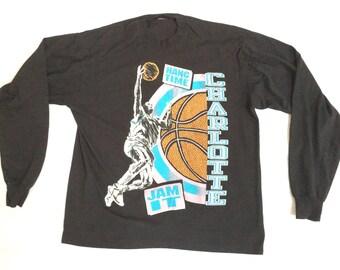 3ddacbc1545 90s T-Shirt 90s NBA Jam t-Shirt   90s Vintage Charlotte Hornets T-Shirt    Vintage Hornets Mugsey Johnson Mouring Neon 90s NBA jam
