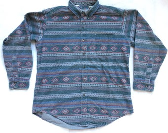 9ec72387c9e84 Vintage LL Bean Aztec Flannel Shirt LARGE LL Bean Chamois Shirt   Vintage  Aztec Pattern Flannel Shirt Made in usa