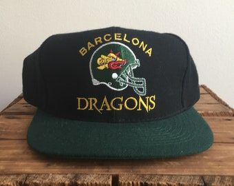 8cf240e1da24f5 90s Snapback Hat / Barcelona Dragons World Football League Hat 90s Vintage  Snapback hat / NFL Europe Hat / American Needle World League