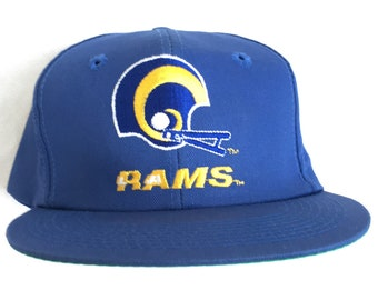 90s LA RAMS Snapback   Vintage 90s STARTER Arch Script Snapback Hat   Los  Angeles Rams Vintage 90s Draft Snapback 6c1417fda
