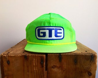 b4c64fa956e 90s Neon Snapback Hat   Vintage GTE racing NASCAR Formula 1 Snapback Hat    80s Neon Hat Vintage Neon 90s Hat
