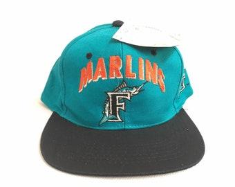 44e13d43f6cf2 90s Snapback Hat Deadstock Vintage Florida Marlins Snapback Hat Cap   Vintage  Florida Marlins 90s Teal Hat