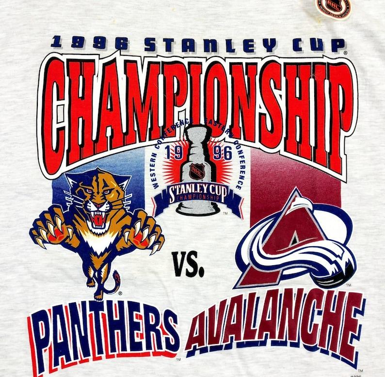 sale retailer d16f1 ad7b7 90s Colorado Avalanche Vintage T Shirt / 1996 Stanley Cup Playoff Colorado  Avalanche vs Florida Panthers Vintage NHL T Shirt