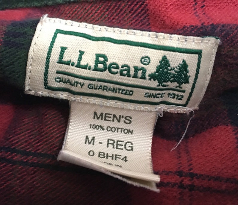 Size Medium LL Bean Flannel Shirt Red Green Plaid 90s Flannel Shirt Vintage LL Bean Flannel Shirt