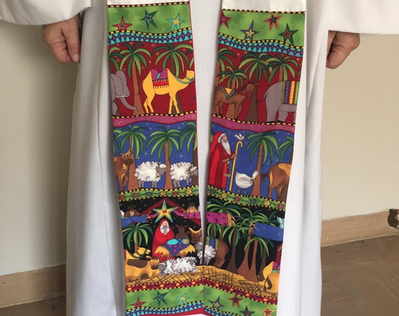 Clergy Stole, Christmas Stole, Santa at the manger, White Clergy Stole, Priest Stole, C002