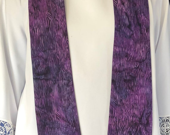 Lenten Purple Clergy Stole, Lenten clergy stole, Lent Clergy Stole, advent priest stole, purple stole, pastor stole, lenten stole, P011