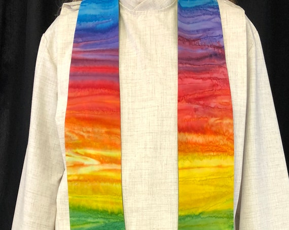 Watercolor Horizontal Rainbow Clergy Stole, Priest Stole, Clergy Stole, Wedding Stole, Rainbow Stole