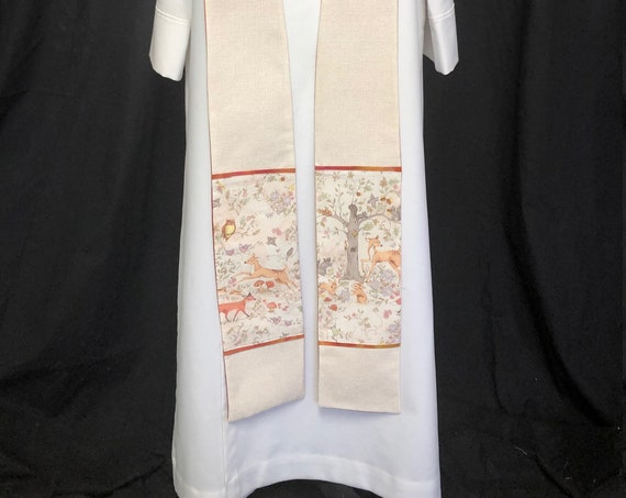 Saint Francis Stole, Animal Stole, Clergy animal blessing stole, Priest stole, Clergy animal stole, St. Francis Animal Stole, SF006