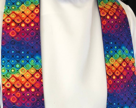 Squared Rainbow Clergy Stole, Priest Stole, Clergy Stole, All Season Stole, Rainbow Stole, RB012