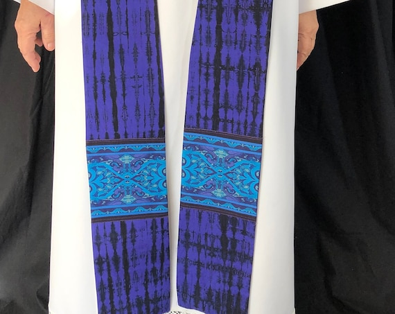 Lent Purple Clergy Stole, Lenten clergy stole, advent priest stole, purple stole, blue stole, pastor stole, lenten stole, P007