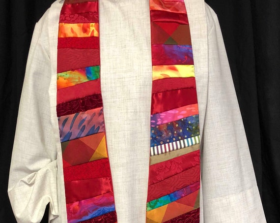 Red Priest Stole, Red ordination Stole, entirely quilted red clergy stole, Red Stole, Pentecost Stole, priest stole, Pastoral Stole, R003