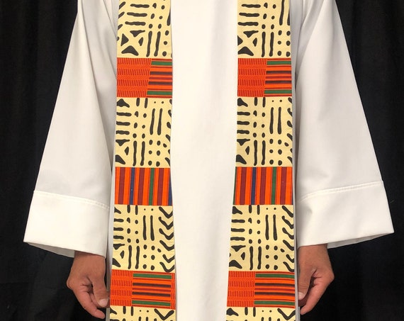 White Clergy Stole, Priest Stole, Clergy Stole, All Season Stole, Pastors Stole, Wedding Stole, W011