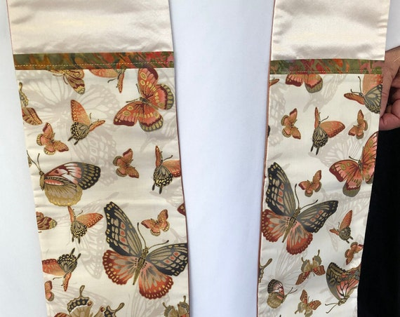 White Butterfly Pastor Stole, White Butterfly Priest Stole, Clergy Stole, White Stole, Pastoral Stole, W006