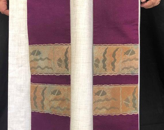 Fish Lent Purple Clergy Stole, clergy stole, advent priest stole, purple stole, blue stole, pastor stole, lenten stole, P001