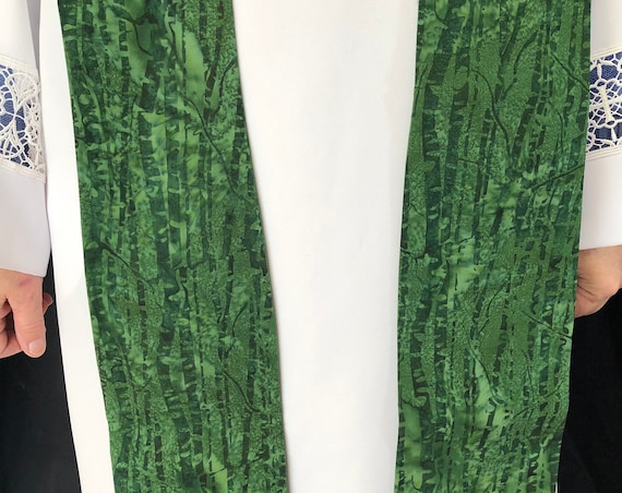 Green Bamboo Clergy stoles, Green ordinary times, clergy stole, priest stole, green stole, G011