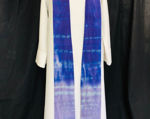 Lenten watercolor stole,  Shades of purple, tie-dye effect, elegant, Pastor Gift, Clergy Gift, RB015