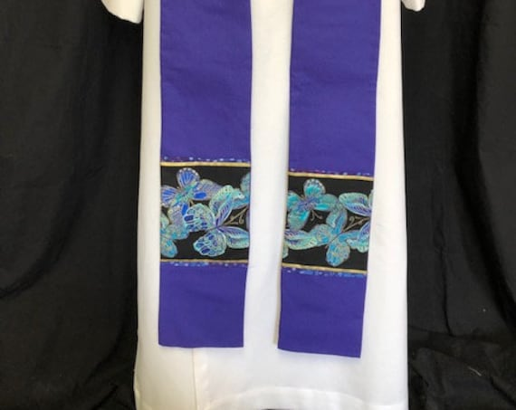 Lenten Floral Purple Clergy Stole, Lenten clergy stole, advent priest stole, purple stole, blue stole, pastor stole, lenten stole, P001